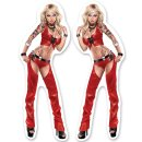 Aufkleber Set Rote Leder Blondine Pin Up Girl 8 x3 cm...