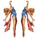 Aufkleber Set USA Pin Up Girl 7,5 cm x 2,5 cm Rote Haare...