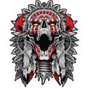 Aufkleber Indianer Totenkopf 8 x 6,5 cm Indian Skull Sticker